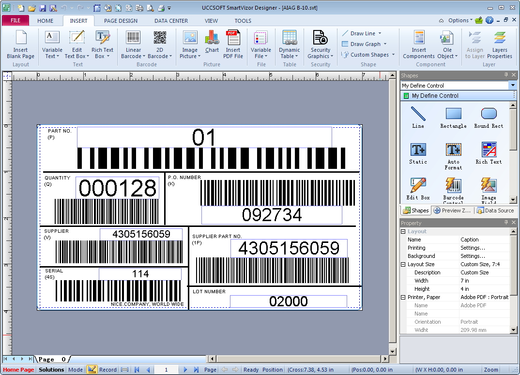 SmartVizor Variable Barcode Label Printing Software Screen shot