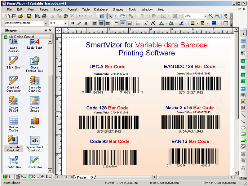 SmartVizor Variable Barcode Printing screenshot